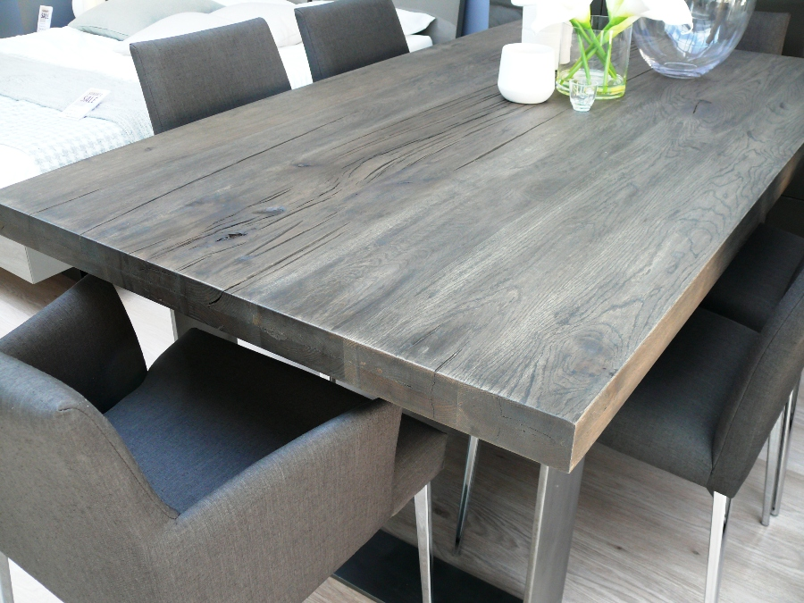 Grey Wood Dining Room Table: Dining Table: Grey Wash Dining Table